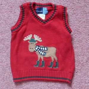 **2/$16!** Great Guy Boy's Red Moose Sweater Vest